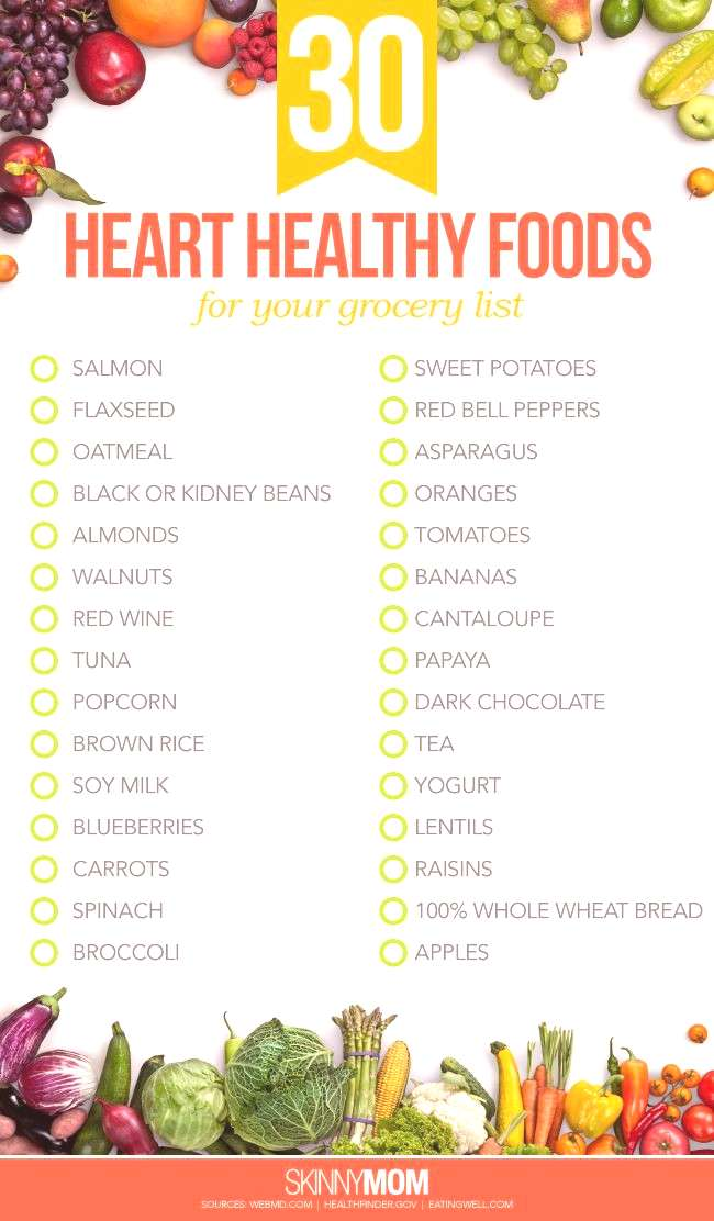 30 Heart Healthy Foods to Add to Your Grocery List ~ Interested in a personal coach? Let's connect!