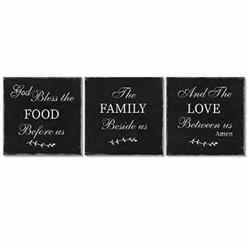 3 Pieces Bless Our Family Food Love Wood Sign Inspirational