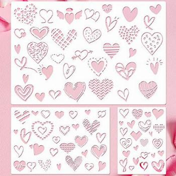 3 Pieces Mother's Day Stencil Template Heart Painting