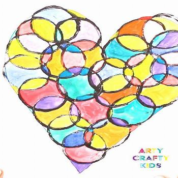 Circle Heart Art Project Cute Valentine's Circle Heart Art Project for kids. Play with colour and s