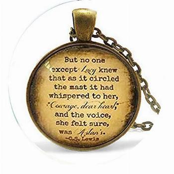 CS Lewis Quote Necklace Courage Dear Heart Aslan Quote Glass