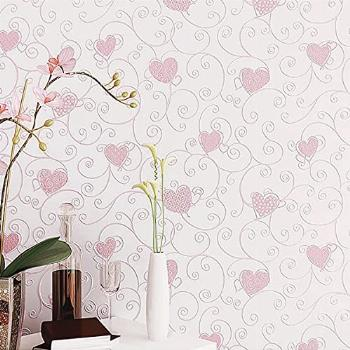 ForUHome Pink Wallpaper,Heart Shaped Wallpaper Stick and