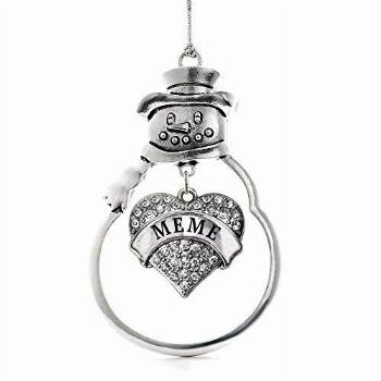 Inspired Silver - Meme Charm Ornament - Silver Pave Heart