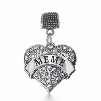 Inspired Silver - Meme Memory Charm for Women - Silver Pave