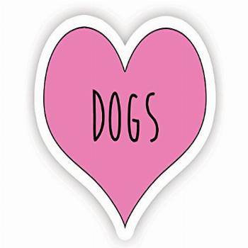 Love Dogs Pink Heart - Inspirational Quote Stickers - 2.5