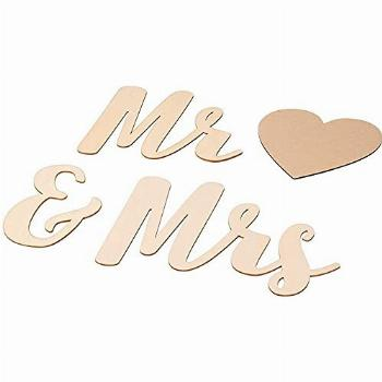 Mr & Mrs Unfinished Wood Sign, Heart Drawing Stencil