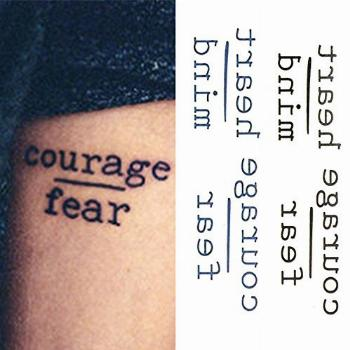 Oottati Small Cute Temporary Tattoo Words Quote Courage Fear