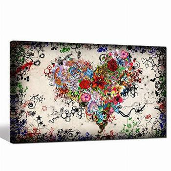 sechars - Modern Canvas Wall Art Love Heart Painting for