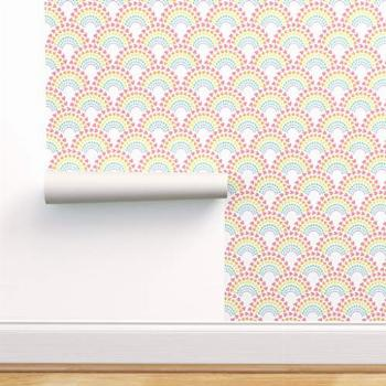Spoonflower Peel and Stick Removable Wallpaper, Rainbow