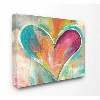 Stupell Industries Abstract Colorful Textural Heart Painting