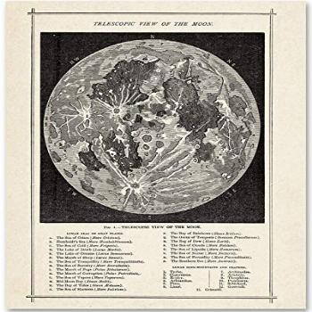 Vintage Antique Map of the Moon Wall Art Print - 11x14