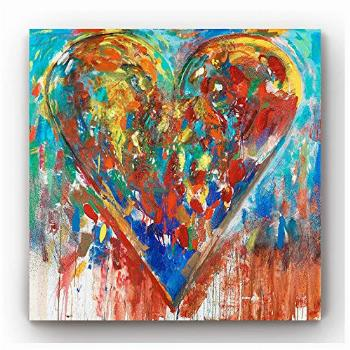 VividHome Colorful Love Heart Canvas Wall Art Abstract