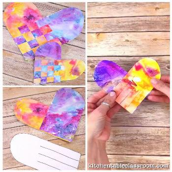 Woven Watercolor Hearts - The Kitchen Table Classroom Use these free printable heart templates to m