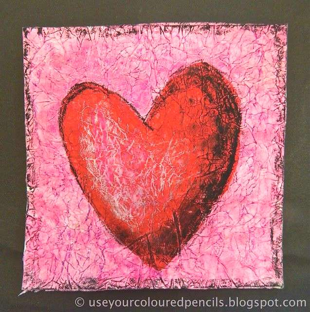 Create a heart ~ Scrunch white tissue paper, glue to page, paint.  When dry, rub oil pastel in cont