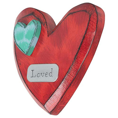 DEMDACO Loved Heart Blue and Red 6 inch Fir Wood Composite