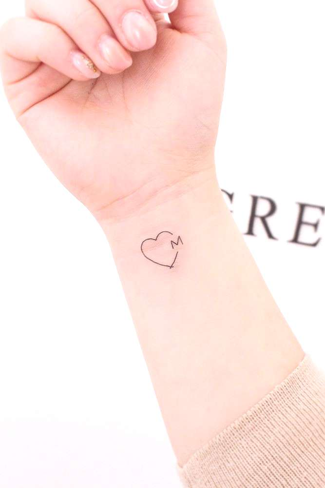 Heart With Letter Tattoo Design ★ Small but meaningful wrist tattoos designs can be explored here