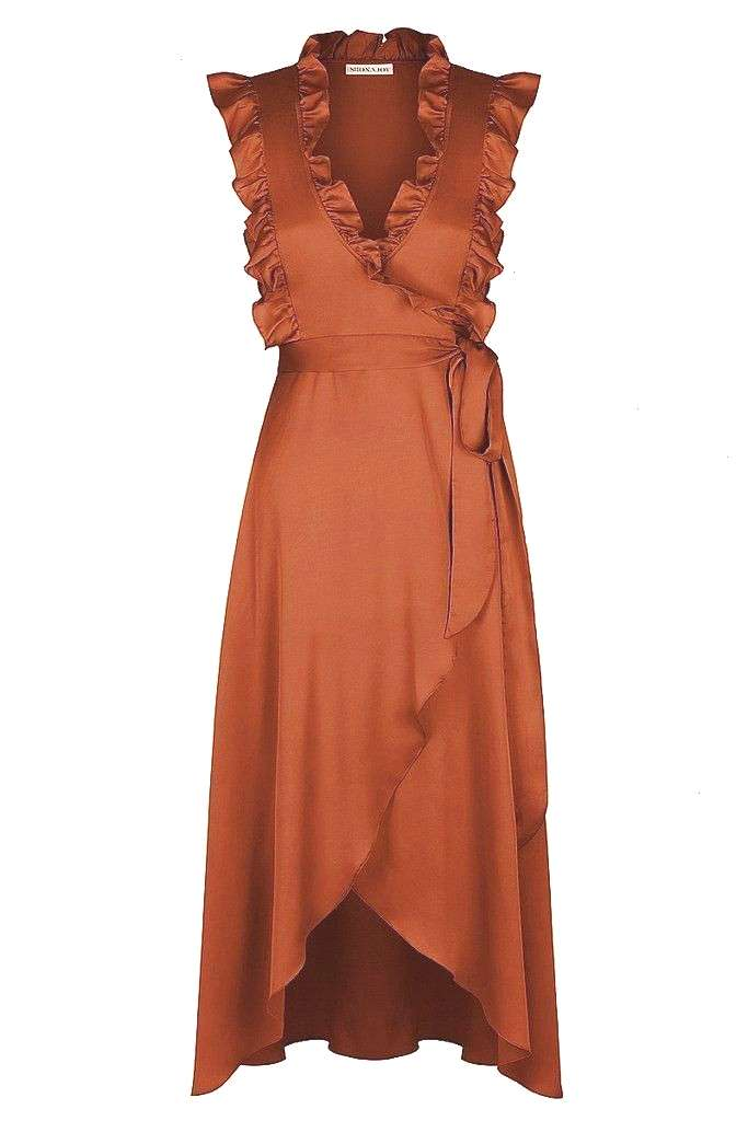 midi dress - mocha -Oro wrap midi dress - mocha -  **Heartbreak Hotel Satin Wrap Maxi Dress by WYLD