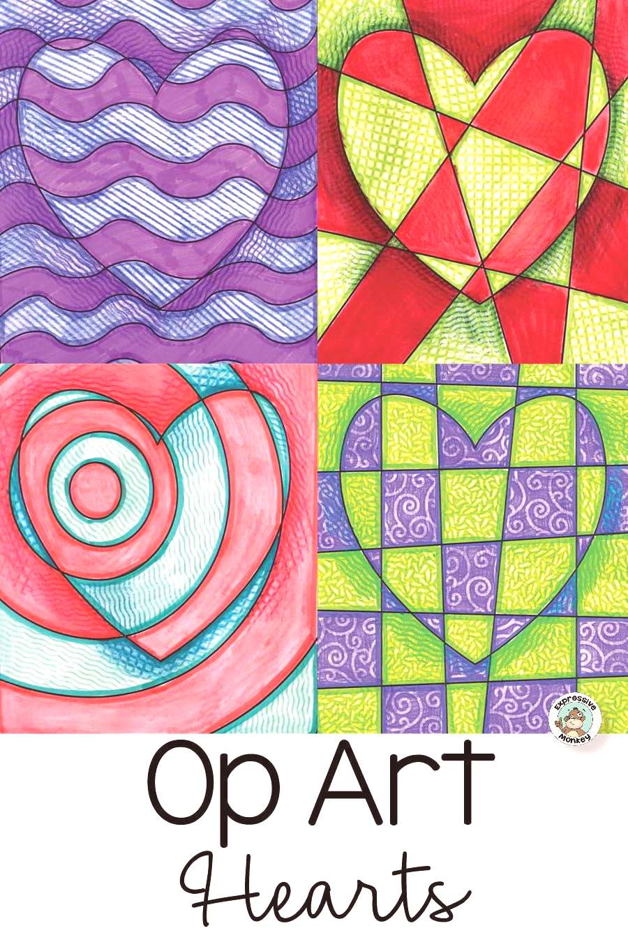 Op Art Hearts - perfect for Valentine's Day! This Op Art lesson has many variations and options.