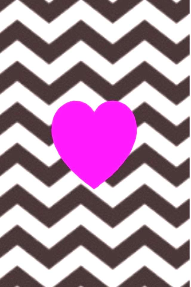 Pink heart and black and white chevron wallpaper pattern Pink heart and black and white chevron wal