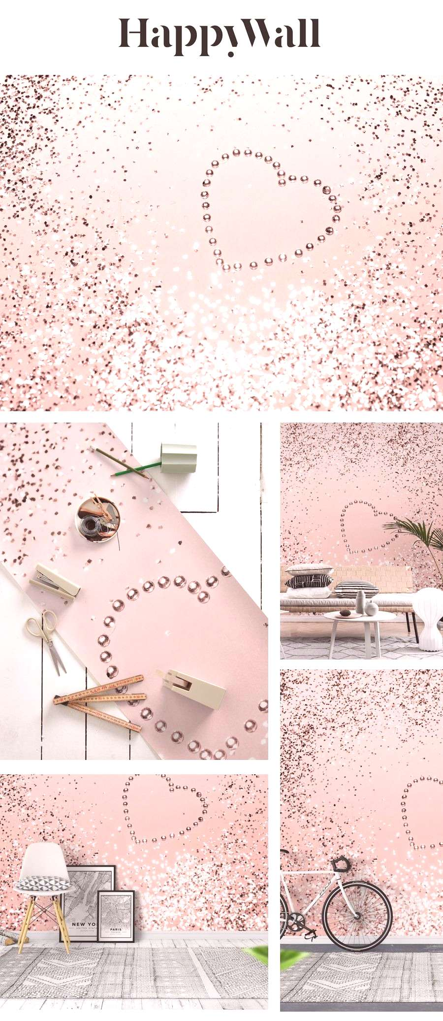 Sparkling ROSE GOLD Heart 5 wall mural from Happywall