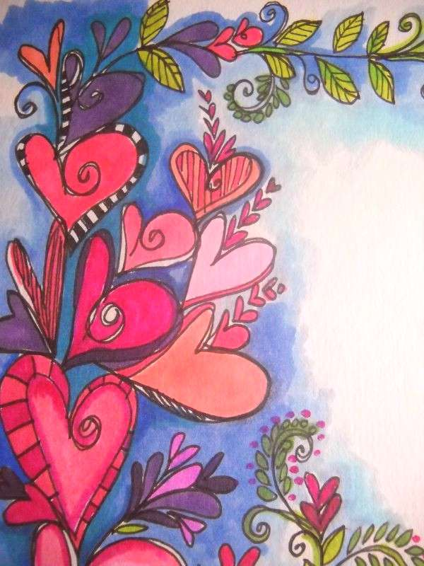 Still getting lost in my doodle journal these days....swirly hearts, winding vines and my watercolo