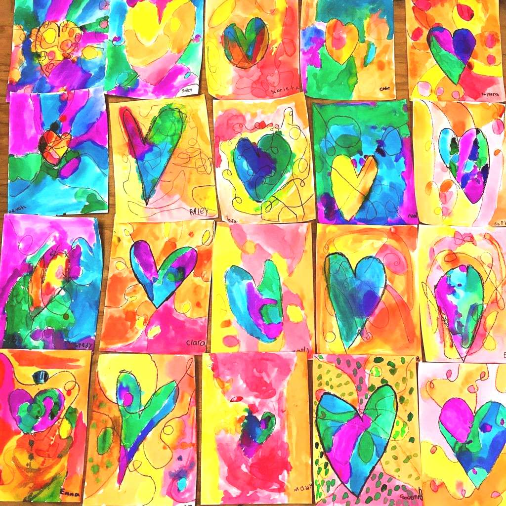This colorful heart art project is great for all ages and is perfect for a fun and colorful Valenti