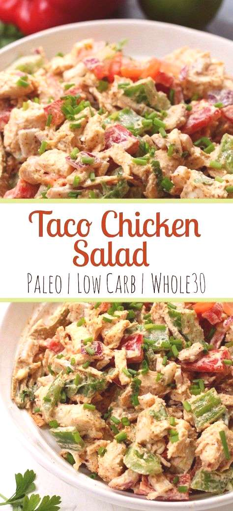 This easy taco chicken salad is a family friendly paleo recipe that only takes 15 minutes to whip t