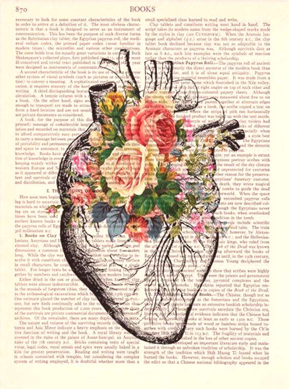 Upcycled Page book Print Vintage Illustration Print - Heart Roses - Wall decor Decorative Art Book